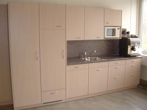 Küche mit eingebautem Kühlschrank und Mikrowelle